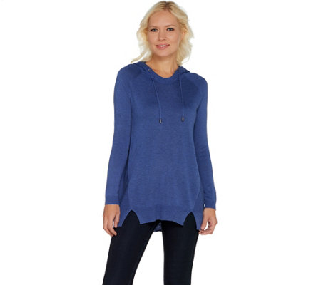 """As Is"" Laurie Felt Cashmere Blend Hoodie Sweater with Seam Details"