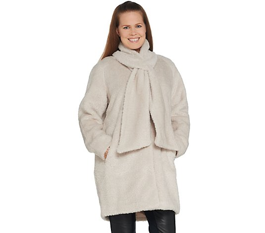 Martha Stewart Faux Fur Coat with Removable Scarf