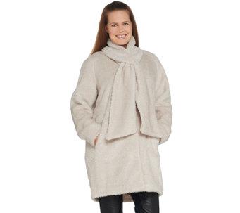 ea662fd7555 Martha Stewart Faux Fur Coat with Removable Scarf - A343485