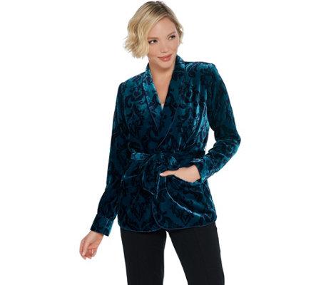 G I L I Printed Velvet Jacket With Waist Tie Detail