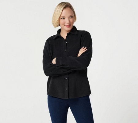 Denim & Co. Fleece Button Front Long-Sleeve Top