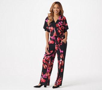 Susan Graver Regular Printed Liquid Knit Jumpsuit - A350185 9de6cfa5a