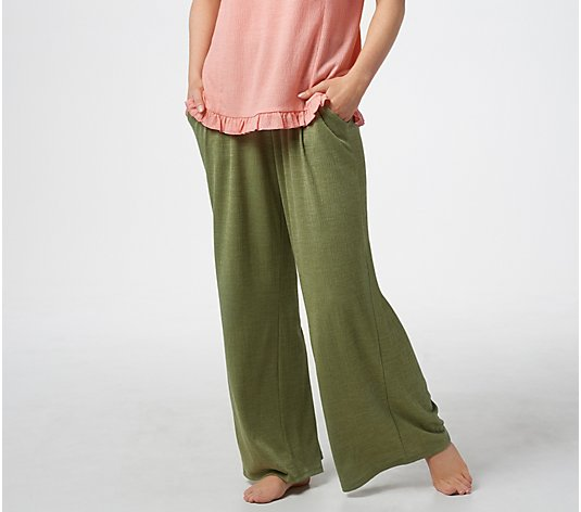 AnyBody Crinkle Knit Wide-Leg Pants