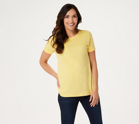 Isaac Mizrahi Live! Essentials Pima Cotton Rolled Sleeve T-Shirt