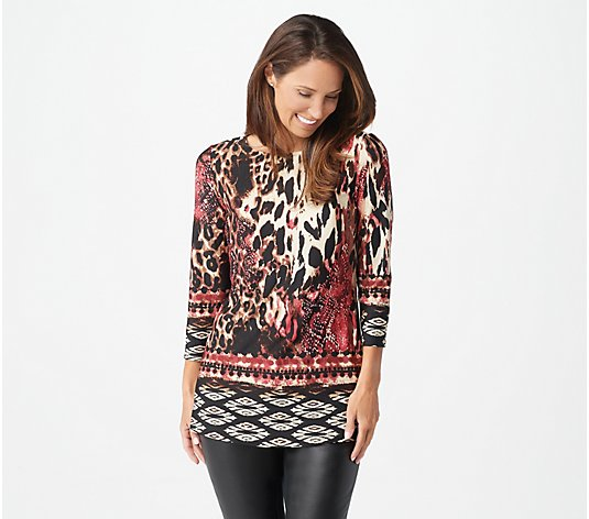 Attitudes by Renee Como Jersey 3/4-Sleeve Printed Tunic