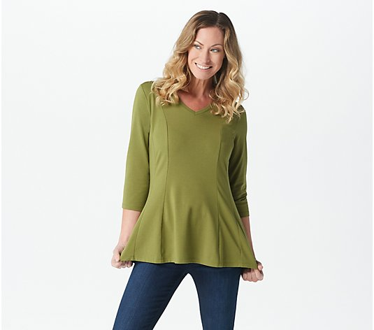 Isaac Mizrahi Live! Double Princess Seam 3/4-Sleeve Peplum Knit Top