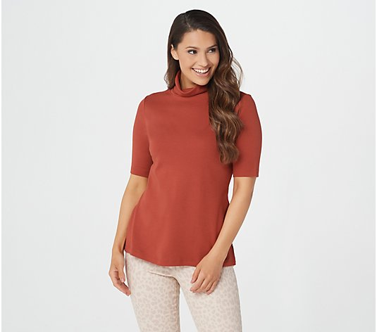 Isaac Mizrahi Live! Essentials Pima Cotton Turtleneck Top