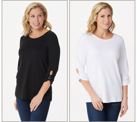 """As Is"" Quacker Factory Set of 2 Knit T-Shirts with Faux Pearl Detail"