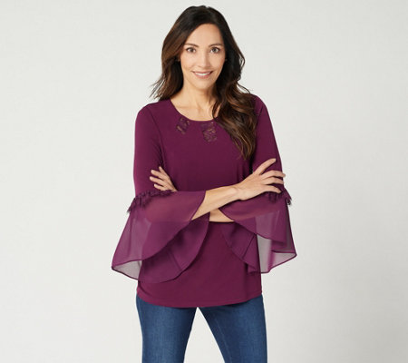 """As Is"" Susan Graver Liquid Knit Top with Sheer Chiffon Cuffs & Lace"