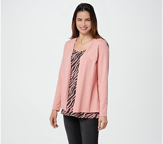 Denim & Co. Textured Knit Cardigan with Attached Printed Tank