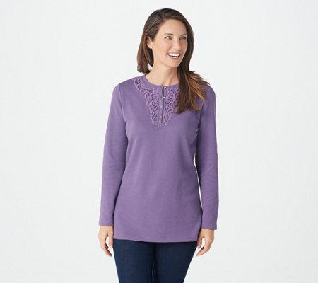 Denim & Co. Waffle Knit Long-Sleeve Top with Applique Trim
