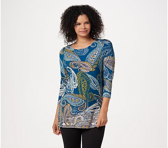 """As Is"" Susan Graver Printed Liquid Knit 3/4 Sleeve Tunic"