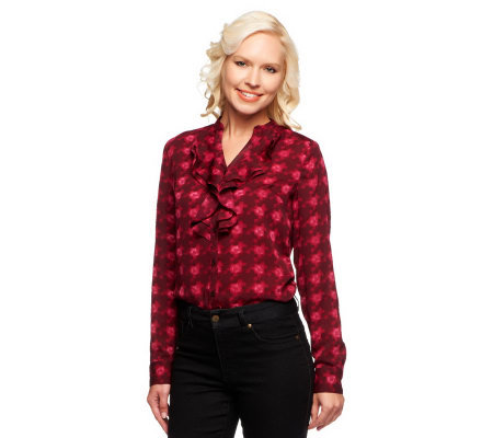 Isaac Mizrahi Live! Watercolor Houndstooth Ruffle Top