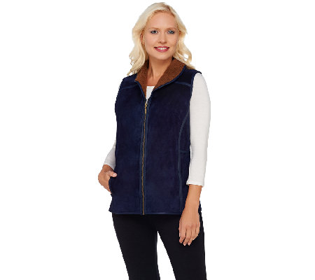 Denim & Co. Suede and Sherpa Vest