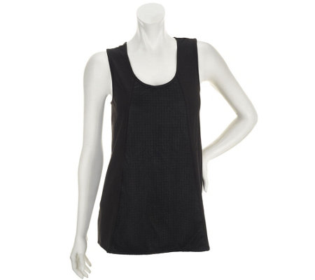 """As Is"" Edge by Jen Rade Sleeveless Knit Top w/ Faux Leather Panel"