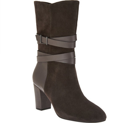 H by Halston Mid-Calf Boots with Leather Strap Detail - Quinn