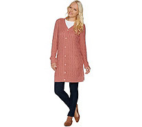 Denim & Co. Button Front Cable Knit Tunic Cardigan with Pockets - A282486