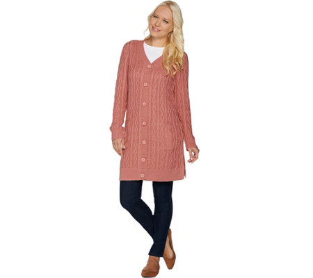Denim & Co. Button Front Cable Knit Tunic Cardigan with Pockets