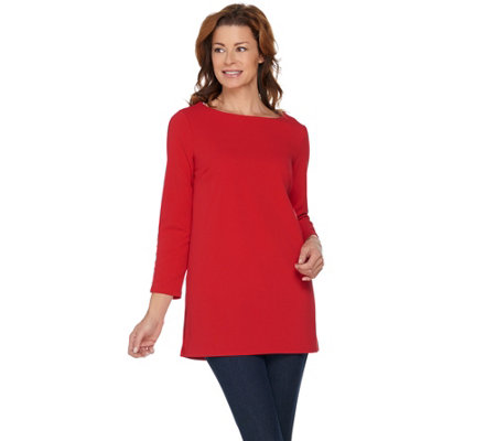 Dennis Basso Caviar Crepe Knit Tunic with Sleeve Embellishment