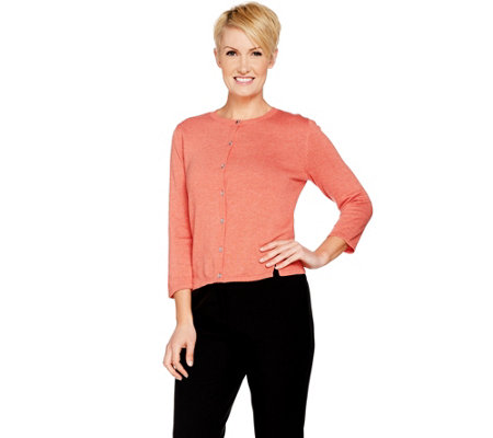 H by Halston Cropped Cardigan with Side Rib Detail
