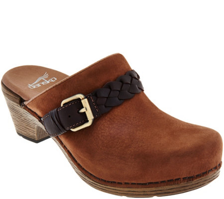 """As Is"" Dansko Nubuck Clogs with Buckle Detail - Melanie"