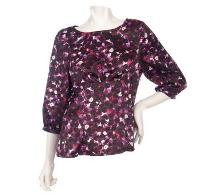 """As Is"" Kelly by Clinton Kelly Jewel Neck Gathered Blouse"