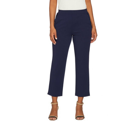 Dennis Basso Caviar Crepe Knit Pull On Ankle Pants