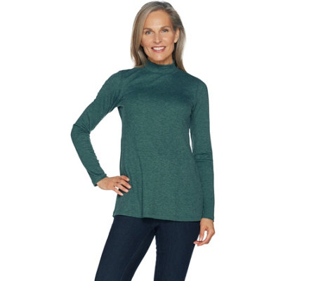 LOGO Layers by Lori Goldstein Rib Knit Mock Neck Long Sleeve Top