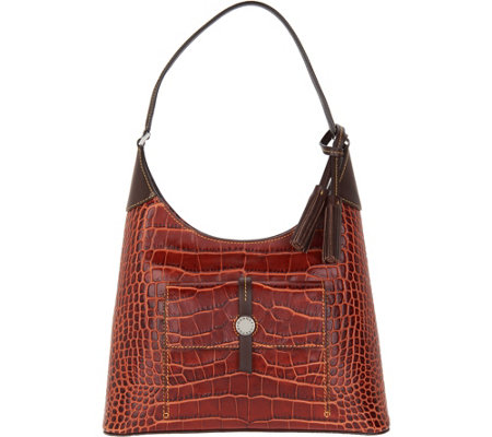 Dooney & Bourke Savannah Croco Embossed Leather Hobo Handbag