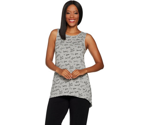 AnyBody Loungewear Cozy Knit Printed Hi-Lo Tank