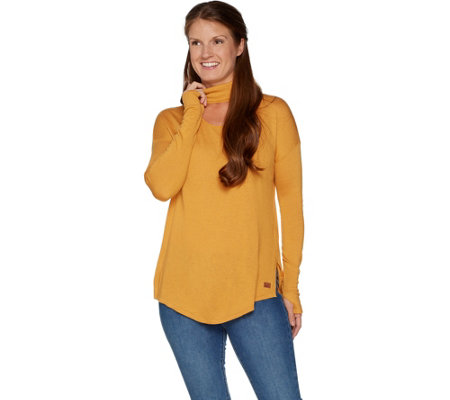 Peace Love World Banded Neck Sweater with Affirmation Dtl