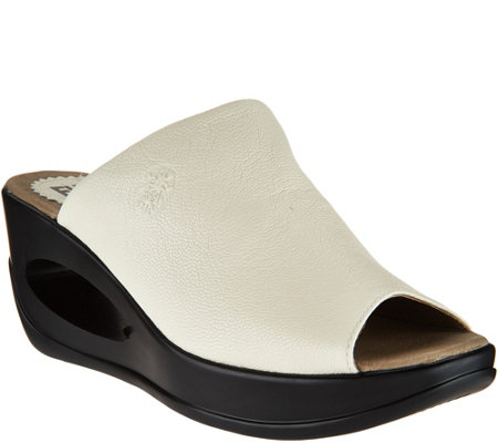 """As Is"" FLY London Leather Wedge Slide Sandals - Hima"
