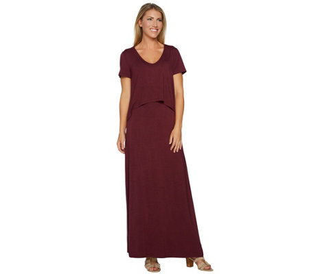 """As Is"" Lisa Rinna Collection Reg. Knit Maxi Dress w/Overlay"
