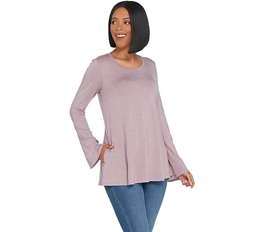LOGO by Lori Goldstein Knit Top with Bell Sleeve Detail
