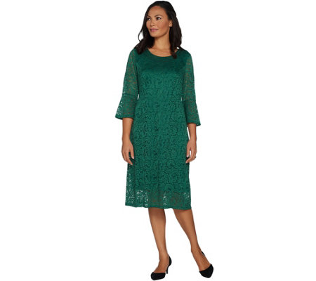 """As Is"" Dennis Basso Stretch Lace Fit and Flare Dress"