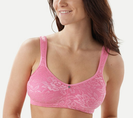 """As Is"" Breezies Seamless Floral Side Smoothing Wirefree Bra"