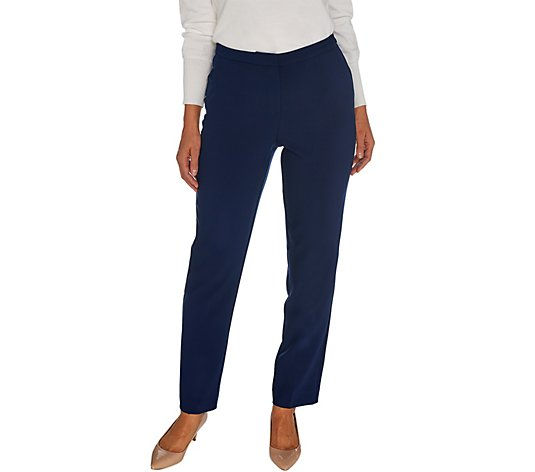 Susan Graver Regular City Stretch Zip Front Pants