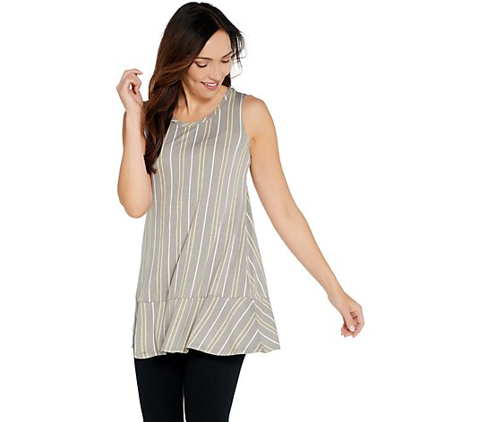 LOGO Layers by Lori Goldstein Striped Tank with Flounce at Hemline