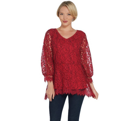 """As Is"" Isaac Mizrahi Live! Bi-Color Lace Peplum Top w/ Blouson Sleeves"