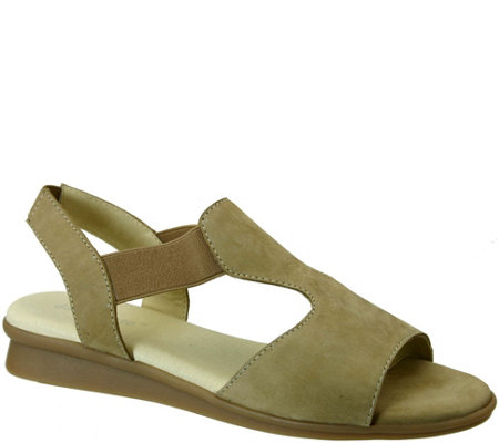 David Tate Leather Wedge Sandals - Ash