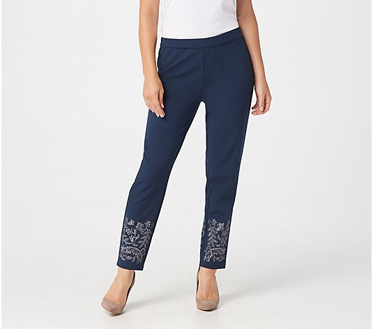 Dennis Basso Luxe Crepe Pull-On Slim-Leg Ankle Pants