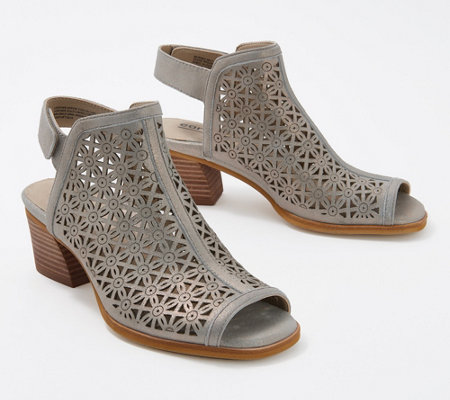 Earth Perforated Leather Heeled Sandal - Murano Mist