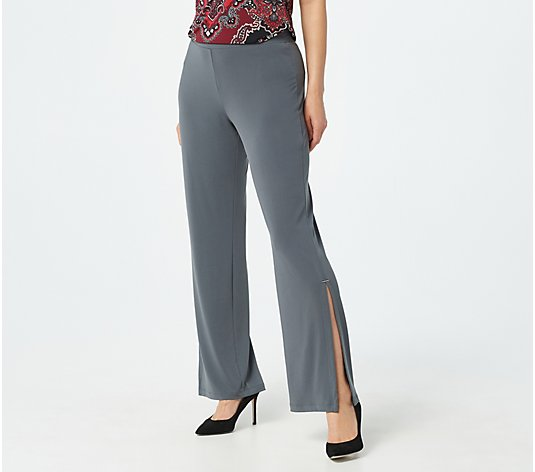 Susan Graver Petite Liquid Knit Split Leg Pants with Hardware