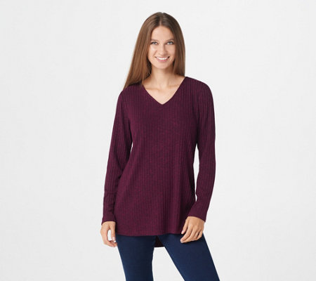"""As Is"" Susan Graver Ribbed Sweater Knit Tunic with Hi-Low Hem"