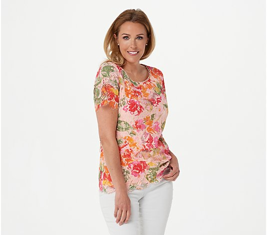 """As Is"" Isaac Mizrahi Live! Scoop Neck Floral Printed Lace Knit Top"