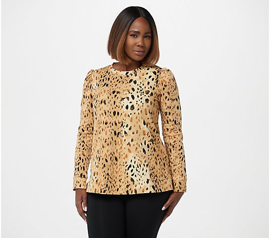 LOGO Lounge by Lori Goldstein Leopard Print French Terry Puff Sleeve Top