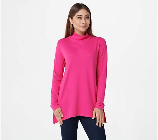 """As Is"" Isaac Mizrahi Live! Essentials Pima Mock-Neck Trapeze Hem Top"