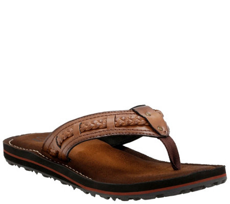 quality design 980a2 5c306 Clarks Collection Flip Flops with Braided Trim- Fenner Neric — QVC.com