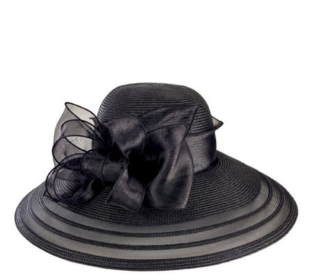 San Diego Hat Co. Lightweight Dressy Black Hatw/ Organza Bow
