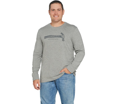 Life is Good Mens Crusher Long Sleeve Mobile Device Hammer Tee — QVC com